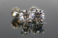 2.00 CT CARATS STUD EARRINGS WHITE SOLID GOLD 14KT SCREW BACK