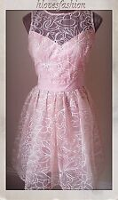 LIPSY ORGANZA VIP RICAMATO NUDE PINK DRESS UK 14 EU42 new+tags