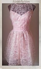 ��LIPSY Organza��VIP��Embroidered Nude Pink Dress UK 14 EU42 NEW+TAGS����