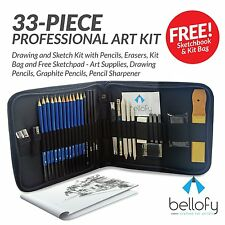 33-piece Professional Art Kit - Drawing And Sketch Kit With Pencils, Erasers, -