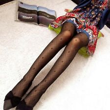FREE GIFT BAG Ladies Black Luxury Fashion Patterned Tights Size 8 - 10 Lingerie