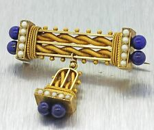1880s Antique Victorian 14K Yellow Gold Etruscan Revival Lapis Lazuli Brooch Pin