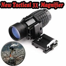3X Magnifier Scope Sight +Slide-to-Side 20mm Mount Holographic Collimated Reflex