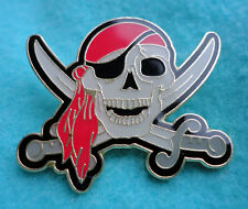 ZP81 Pirate Skull + Cross Sabre Eye Patch Enamel Pin Badge Biker Jolly Roger ARH