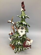 "Blue Sky Clayworks Woodland Christmas Tree Santa Tealight Candle Holder 12"" NEW"