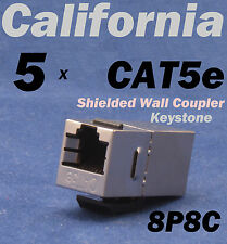 5 X pcs Lot CAT5e Shielded Inline RJ45 Keystone Wall Coupler Jack Adapter 8P8C