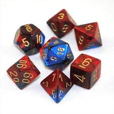 Polyhedral 7-Die Gemini Dice Set Blue Red with Gold Numbers CHX 26429