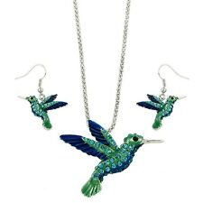 """Hummingbird Necklace & Earring Set - Sparkling Crystal - Fish Hook - 18"""" Chain"""