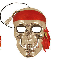 Silver Full Face Pirate Masquerade Mask,Venetian Style Ball Curved Unisex Mask