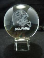3-D Laser Etched Crystal Paperweight Miami Dolphins Helmet Lighted Stand 3""