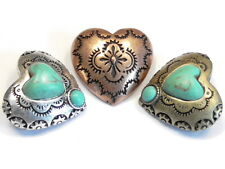3 - 2 HOLE SLIDER BEADS CONNECTORS TRI COLOR FAUX TURQUOISE WESTERN HEART CONCHO