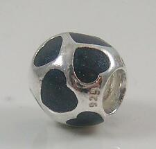 Authentic Genuine Pandora Silver Love You Black Enamel Charm 790543EN22