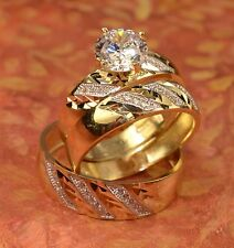 His And Hers Yellow Gold Engagement Rings And Multiple Wedding Band Set