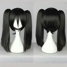 Black Straight Medium Pigtail Ponytail Women's Cosplay Anime Hair Wig Wigs