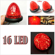 2x Red Round Beehive 16LED Marker Lights Clearance Truck Trailer showing lights