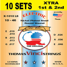 10 SETS Vinci 10-46 XTRA 1st & 2nd U.S.A. Nickel Plated Electric Guitar Strings