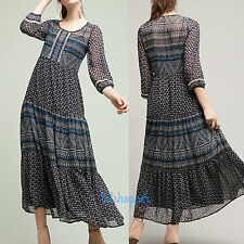 NWT 12 ANTHROPOLOGIE Geometry Tiered Maxi Boho Dress by Floreat Customer Fav
