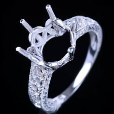 UNIQUE STERLING SILVER 9MM ROUND ENGRAVING SEMI MOUNT ENGAGEMENT RING SETTING
