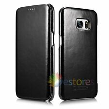 ICARER Real Leather Flip Cover Case Skin For Samsung Galaxy S7 Edge Black