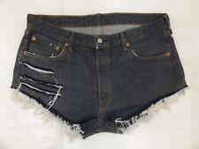 LEVI VINTAGE HIGH WAISTED SHORTS SIZE 16 INDIGO RAW DARK BLUE CUT OFF 501 LEVIS