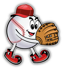 Cartoon Baseball Pitcher Ball Face Car Bumper Sticker Decal 5'' x 5''