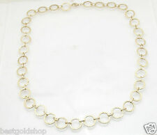 """19"""" Textured Multi Circle Link Chain Necklace Real 14K Yellow Gold 4.7gr"""