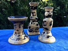 Antique Chinese Famille DRAGON Black Onyx & Gold SET of 3 Tiered Candelabra RARE