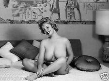 1956s Nude pinup DDs sitting in Egyptian decorated bedroom 8 x 10 Photograph