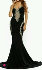 Black lace Mermaid cocktail/prom party Maxi Dress Gown  Size 8-10-12-14