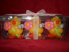 Set of 3 Little Yellow Rubber Duck Candles with Flowers and Bows NIB