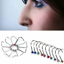 Nose Hoop Ring 10Pcs Rhinestone Screw Surgical Steel Studs Body Piercing Jewelry