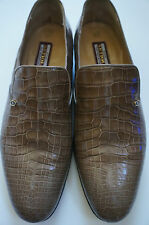 Star Artioli Taupe 100% Alligator leather dress loafers shoes 10.5 D w Gucci bag