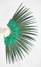 """Marabou & Pheasant  Feather Fan Burlesque perform 29""""x 53"""" Gift Box Forest Green"""