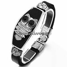 Punk Rock Night Owl Men's Ladies Black Leather Cuff Bracelet Wirstband