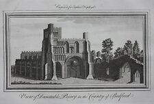 Original antique print DUNSTABLE PRIORY, BEDFORD, from 'England Displayed' 1769