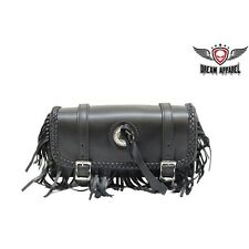 REAL LEATHER Motorcycle Tool Bag W/ BRAID& FRINGE for Harley Sportster Softail