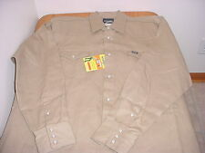 NWT MEN'S WRANGLER MEDIUM KHAKI WESTERN LS SHIRT (COWBOY CUT)