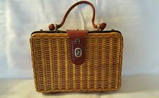 Vintage Etienne Aigner Handmade Wicker and Leather Purse Basket Bag