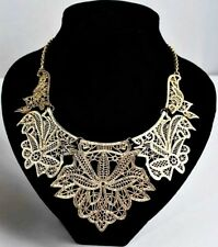Charlotte Anne Gorgeous Metal Lace Bib Necklace Gold US SELLER! Armoire Jolie