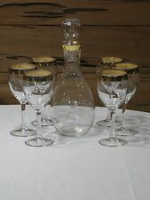 Vintage Clear Etched Glass Decanter & 6 Wine Glasses w/Gold Rim