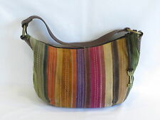 Fossil Dark Brown/Multi Color Leather/Suede Hobo - GR8!
