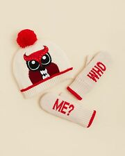 $75 KATE SPADE NEW YORK GIRLS OWL HAT & WHO ME MITTENS SET LARGE XL NEW RARE