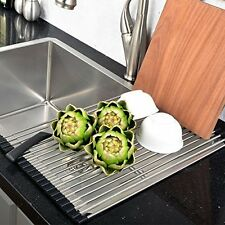 Stainless Steel Kitchen Sink Dish Drying Rack Drainer Over The Sink Organizer