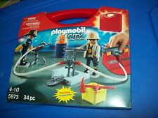 PLAYMOBIL 5973 City Action Firefighters Fire Take Along Carry Case ~ NEW Sealed