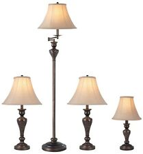 Lamp Set 4-Piece Aged Bronze Fabric Shades Floor Table Accent Living Bed Room
