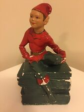 Elf Book End with Elf Figure Vintage