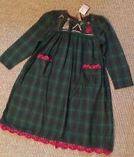 New April Cornell Village Girls Green Plaid Flannel Dress sz 5/6
