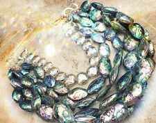 GIANT 6-STRAND ABALONE PAUA NECKLACE PEARL RAINBOW SEA OPALS Czech Glass Beads