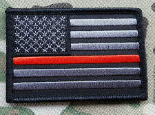 The Thin Red Line Firefighter Morale Patch Black and Grey EMS EMT