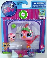 Littlest Pet Shop MOMMY & BABY Pink QUAIL Birds #3603 #3604 Low Ship US SELLER